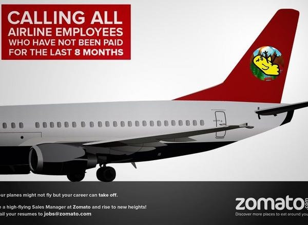 A Zomato Ad that attempted to poach employees from Kingfisher, a struggling Indian airline