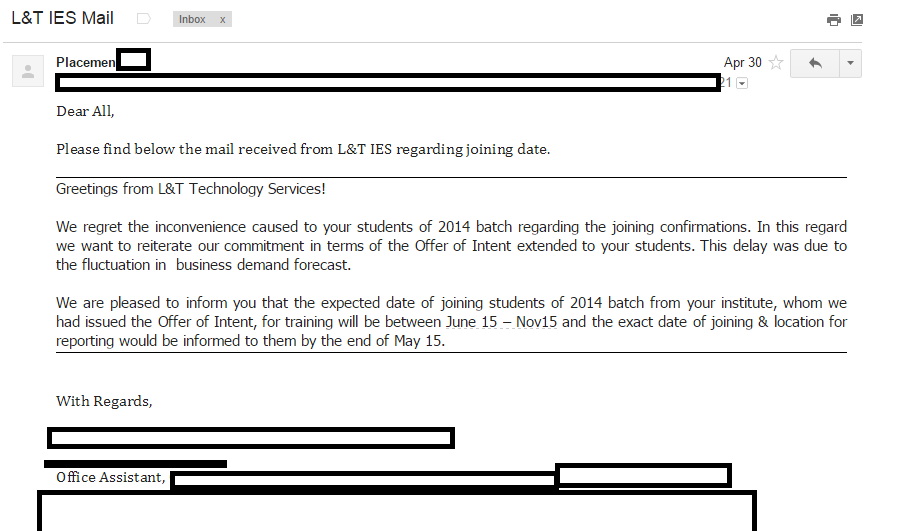 L&T IES email