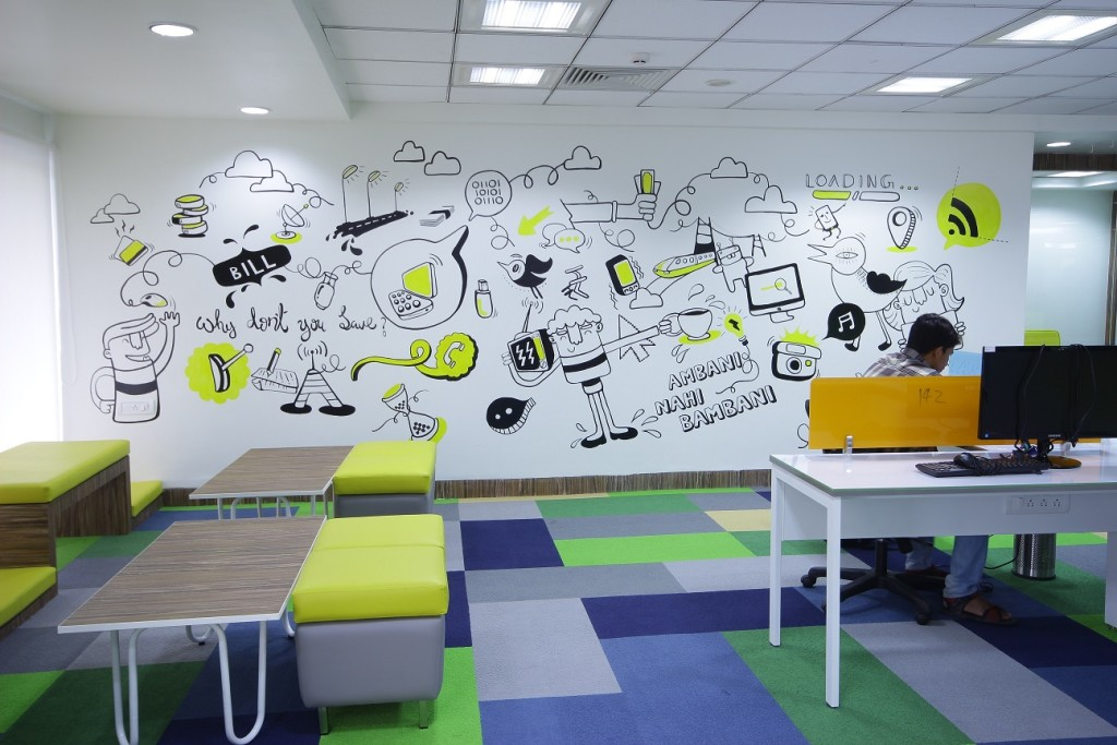 21 most beautiful walls seen in offices around india Art for office walls