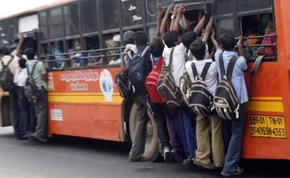 overcrowded local bus