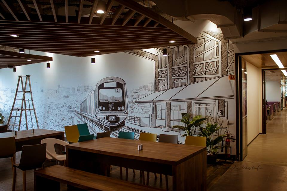 Linkedin office Bangalore wall mural