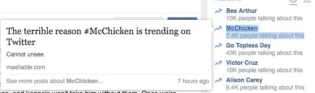 facebook trending topics bot mcchicken