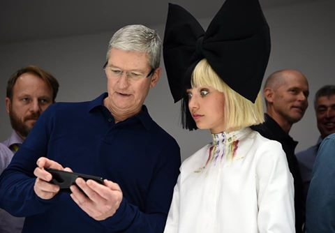 Sia at Apple iphone7 event with Tim Cook