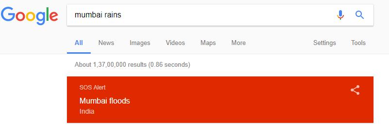 google alert mumbai rains