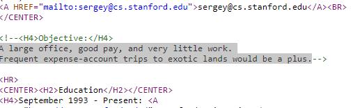 sergey brin resume joke