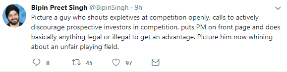 bipin preet singh attacks vijay shekhar sharma