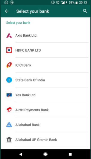 whatsapp payment banks