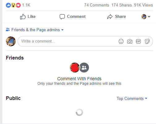 facebook friends and page admins comment