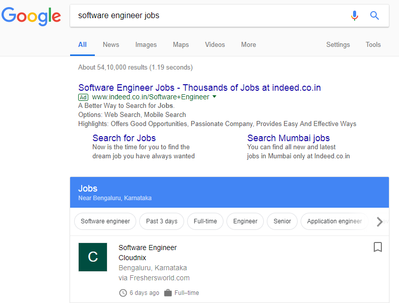 google jobs search india