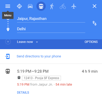 google maps trains
